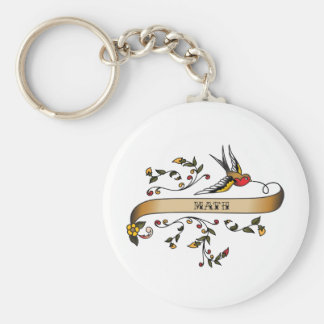 Swallow and Scroll with Math Basic Round Button Key Ring