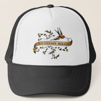 Swallow and Scroll with Mountain Biking Trucker Hat