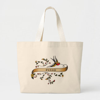 Swallow and Scroll with Piano Large Tote Bag