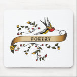 Swallow and Scroll with Poetry Mouse Mat
