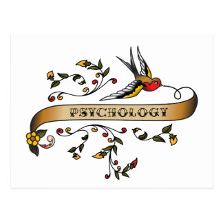 Swallow and Scroll with Psychology Postcard