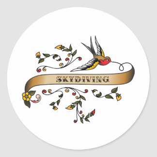 Swallow and Scroll with Skydiving Round Sticker