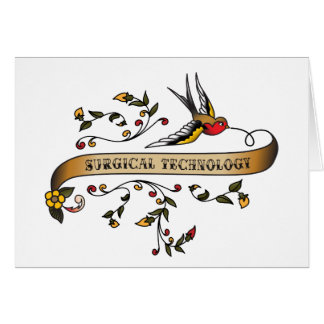 Swallow and Scroll with Surgical Technology Greeting Card