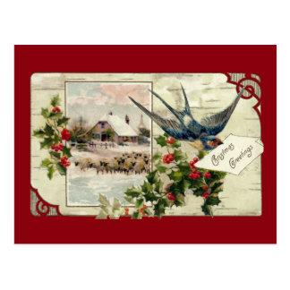 Swallow and Sheep Vintage Christmas Postcard