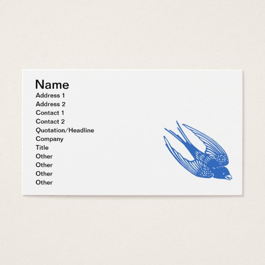 Swallow Bird Blue Business Card