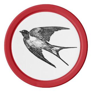 Swallow Bird Card Guard Vintage Red Color 5 Poker Poker Chip Set