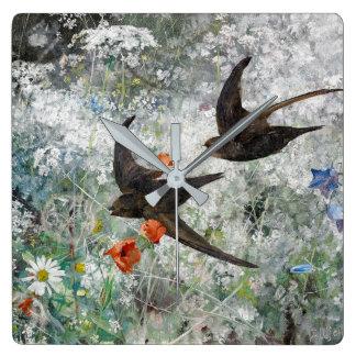 Swallow Bird Poppies Meadow Wildflowers Wall Clock