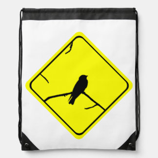 Swallow Bird Silhouette Caution or Crossing Sign Drawstring Backpacks