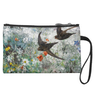 Swallow Birds Wildlife Flowers Sueded Clutch