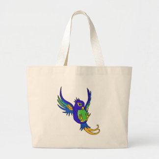 Swallow blue and green canvas bag