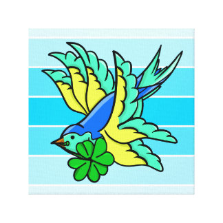 Swallow Flying St. Paddy's Day Lucky Shamrock Gallery Wrapped Canvas