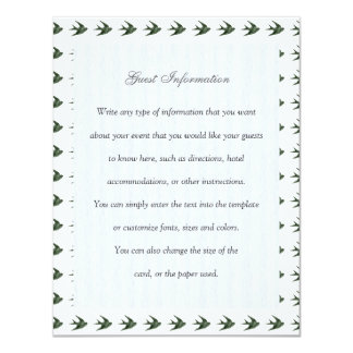 Swallow (Letterpress Style) 11 Cm X 14 Cm Invitation Card