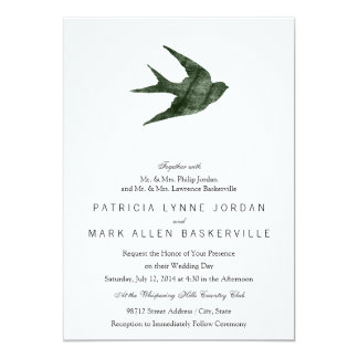 Swallow (Letterpress Style) 13 Cm X 18 Cm Invitation Card