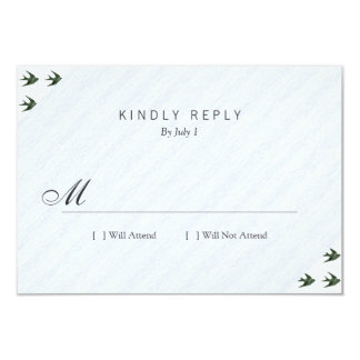 Swallow (Letterpress Style) 3.5x5 Paper Invitation Card