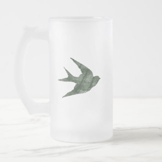 Swallow (Letterpress Style) Frosted Beer Mug