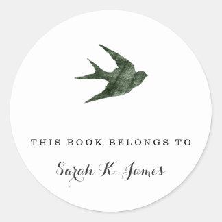 Swallow (Letterpress Style) Round Sticker