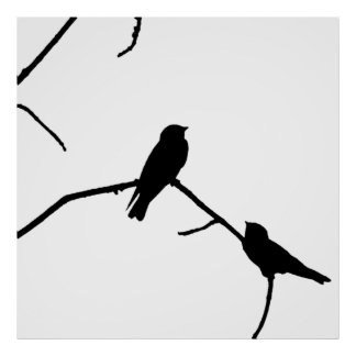 Swallow or Swifts Silhouette Love Bird Watching Poster