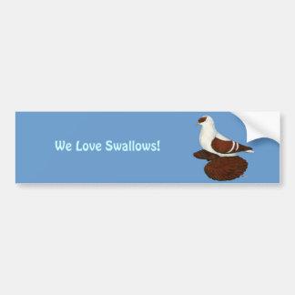 Swallow:  Red Fullhead Bumper Sticker