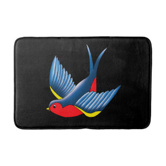 Swallow Tattoo Bath Mat