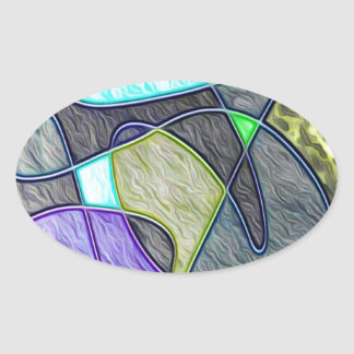 swallowed colorful oval sticker