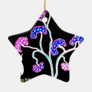 Swallows-and-fruit-tree-Happy-Birthday Christmas Ornament