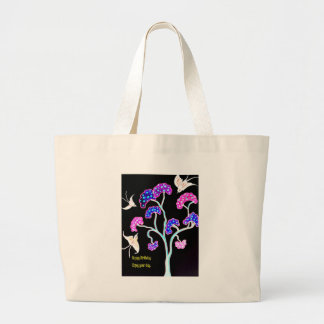 Swallows-and-fruit-tree-Happy-Birthday Large Tote Bag