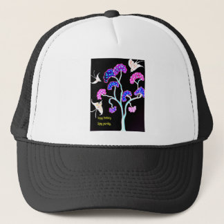 Swallows-and-fruit-tree-Happy-Birthday Trucker Hat