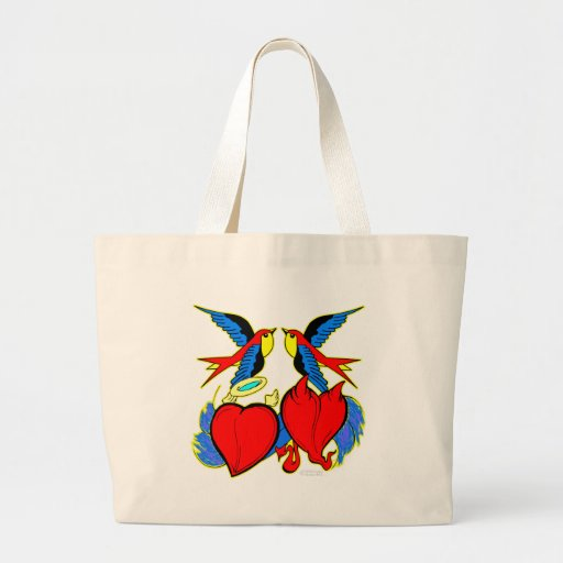 Swallows and Hearts Tattoo Tote Bags