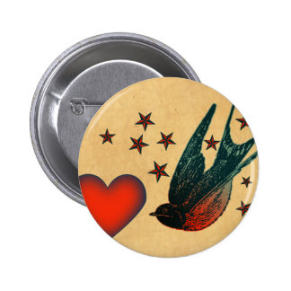 Swallows and Stars 6 Cm Round Badge
