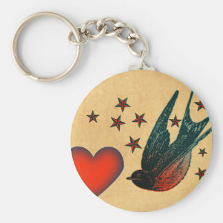 Swallows and Stars Basic Round Button Key Ring