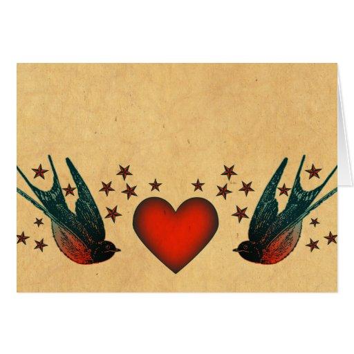 Swallows and Stars Greeting Card