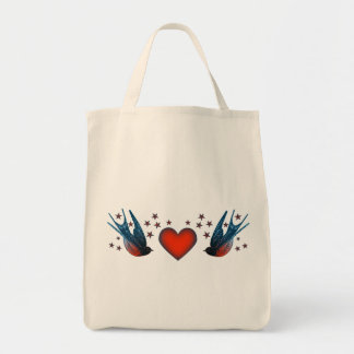 Swallows and Stars Grocery Tote Bag