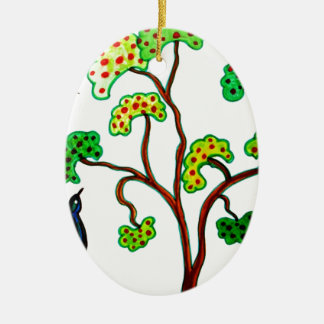 Swallows and the apple tree ceramic oval decoration