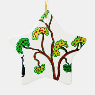 Swallows and the apple tree ceramic star decoration