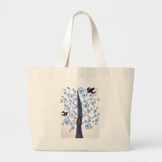 Swallows and the orange tree large tote bag