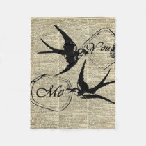 Swallows In Love Over Old Dictionary Book Page Fleece Blanket
