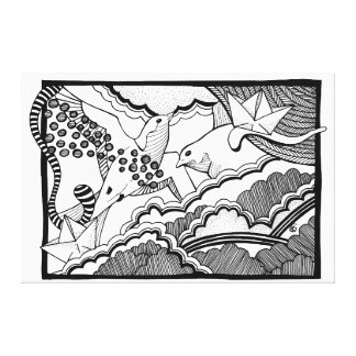 Swallows in the clouds lineart drawing canvas print