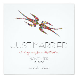 Swallows Spring Flowers Just Married Wedding 13 Cm X 13 Cm Square Invitation Card