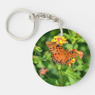 Swallowtail and Gulf Fritillary butterflies Double-Sided Round Acrylic Key Ring