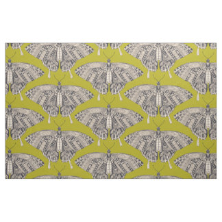 swallowtail butterfly citron basalt fabric