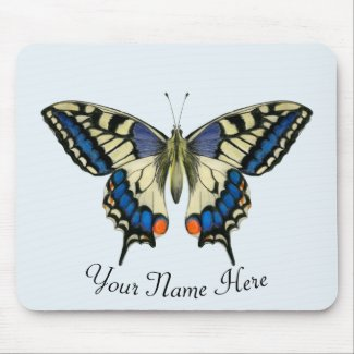 Swallowtail Butterfly Hand Painted Artwork Mouse Mat
