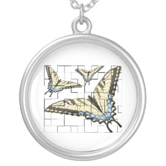 Swallowtail Butterfly Round Pendant Necklace