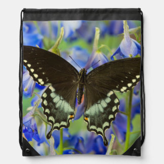 Swallowtail Butterfly on blue Drawstring Bag