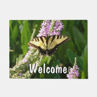 Swallowtail Butterfly on Purple Wildflowers Doormat