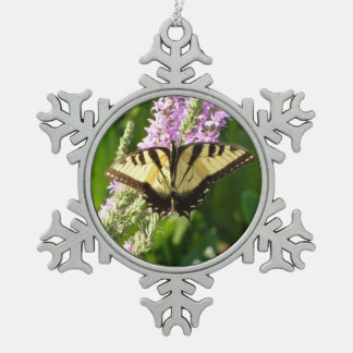 Swallowtail Butterfly on Purple Wildflowers Pewter Snowflake Decoration