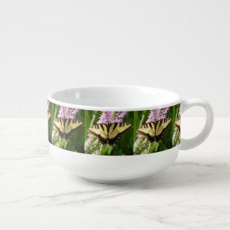 Swallowtail Butterfly on Purple Wildflowers Soup Mug