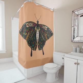 swallowtail butterfly peach shower curtain