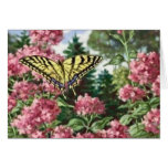 Swallowtail Butterfly Pink Flowers Garden Painting Greeting Card