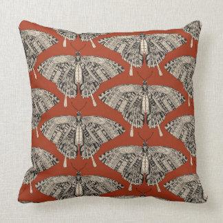 swallowtail butterfly terracotta black cushion