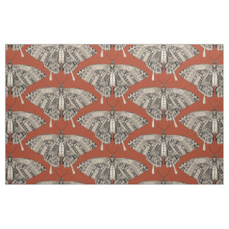 swallowtail butterfly terracotta black fabric